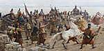 Feszty Árpád: A táltos imája az oltár előtt (Magyarok bejövetele, részlet - A feláldozásra szánt fehér ló, részlet 2.) (id: 18605) vászonkép óra