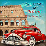 Welcome to Rome retro poster. (id: 19205) tapéta
