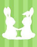 DIY - Húsvéti nyuszipár, zöld csíkos háttérrel 2. (id: 4105) poszter