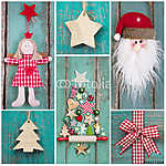 Karácsonyi dekoráció piros, zöld, fehér és fa (id: 5005)