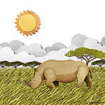 Rhino újrahasznosított papírhordozó háttere (id: 6205) vászonkép óra
