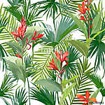 Tropical Palm Leaves and Flowers, Jungle Leaves Seamless Vector vászonkép, poszter vagy falikép