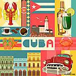 Kuba látványosság és látnivalók - utazási képeslap fogalom. Vect (id: 12706)