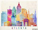 Atlanta landmarks watercolor poster (id: 15206) falikép keretezve