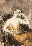 Vaszary János: Sárga ruhás nő karosszékben (id: 19606) vászonkép
