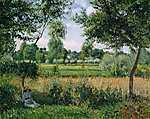 Camille Pissarro: Eragny reggeli napsütésben (id: 2706) vászonkép