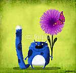 Kék foltos macska virággal és pillangóval (id: 5306) vászonkép óra