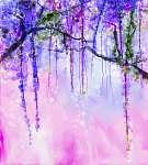Absztrakt virágok akvarell festés. Tavaszi lila virágok (id: 9006) vászonkép óra