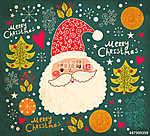 Karácsonyi vektoros illusztráció vicces Mikulás (id: 11907) vászonkép