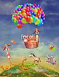 Állatok egy mezőn és egy léggömbön az égen (id: 12407) többrészes vászonkép