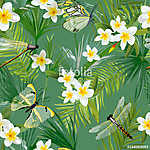 Tropical Floral Seamless Pattern with Dragonflies. Jungle Backgr vászonkép, poszter vagy falikép