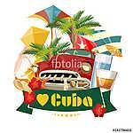 Kuba látványosság és látnivalók - utazási képeslap fogalom. Vect (id: 12707)