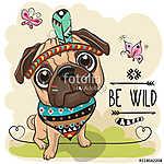 Cartoon tribal Pug Dog and with a feather (id: 19007) többrészes vászonkép