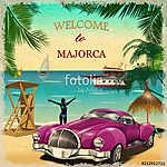 Welcome to Majorca retro poster. (id: 19207) falikép keretezve