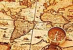 Térkép részlet iránytűvel (id: 2307) többrészes vászonkép