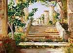 August Macke: Loggia Ravelloban (színváltozat 1.) (id: 3807) falikép keretezve