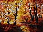 Olajfestmény - színes őszi erdő, művészeti munka (id: 4907) vászonkép