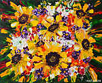 Art Oil-Painting Picture Summer Bouquet with Sunflowers vászonkép, poszter vagy falikép