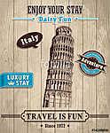 A Pisa olaszországi hajó tornya utazási vakációja plakátja (id: 11808)
