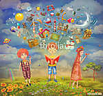 Gyerekek boldogok egy dombon, színes rajzfilm (id: 12408) tapéta