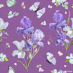 Floral Seamless Pattern with Purple Blooming Iris Flowers and Fl vászonkép, poszter vagy falikép