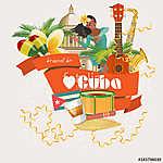 Kuba látványosság és látnivalók - utazási képeslap fogalom. Vect (id: 12708)
