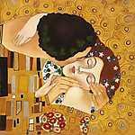 Claude Monet: FV - A csók (átdolgozás, részlet) (id: 3608) falikép keretezve