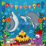 születésnapi tengeri állatok - vektoros illusztráció, eps (id: 4508) tapéta