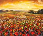 Színes mező vörös mák a naplementében kézi olajfestmény o (id: 9808) vászonkép óra