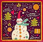 Karácsonyi kártya hóemberrel (id: 11909)