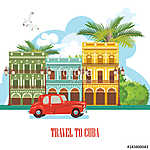 Kuba látványosság és látnivalók - utazási képeslap fogalom. Vect (id: 12709) falikép keretezve