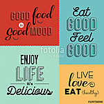 Retro food quote designs set of colorful labels (id: 13709)