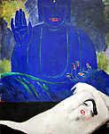 Vaszary János: Női akt Buddha háttérrel (id: 19609) vászonkép