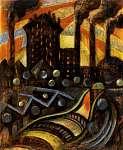 Scheiber Hugó: Esti fények a gyárnegyedben (id: 21409) vászonkép
