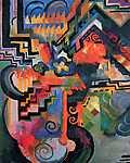 August Macke: Színes kompozíció (id: 2409) többrészes vászonkép
