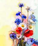Olajfestés vörös mákvirág, kék búzavirág és fehér százszorszép. (id: 9009) poszter