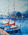 Art Oil Painting Picture Yachts Olaszországban (id: 10010) falikép keretezve