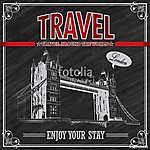 Vintage London Travel ünnepi plakát (id: 11810) vászonkép