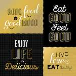 Retro style food quotes set in gold color (id: 13710) falikép keretezve