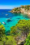 Majorca Spain Mediterranean Sea Coast bay with boats at Santa Po (id: 13910) vászonkép