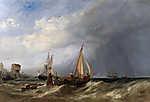 Egy holland bárka kifut a rotterdami kikötőből (színverzió 1.) (id: 18110) vászonkép