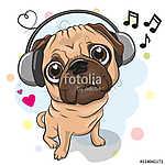 Cute cartoon Pug Dog with headphones (id: 19010) falikép keretezve