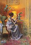Delphin Enjolras: Nő, kezében Szárnyas Niké-t tartva (id: 20110) többrészes vászonkép