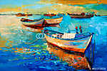 Csónakok a naplementében (id: 4210) vászonkép óra
