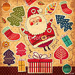 Karácsonyi illusztráció a vicces Mikulásmal (id: 11911) falikép keretezve