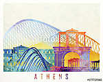 Athens landmarks watercolor poster (id: 15211)