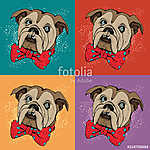 Portrait of dog Bulldog. Pop art vector pattern. Illustration for T-shirt graphics, fashion print, poster, textiles.. (id: 15611)
