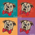 Portrait of dog Bulldog. Pop art vector pattern. Illustration for T-shirt graphics, fashion print, poster, textiles.. (id: 15611) vászonkép óra