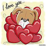 Cute Cartoon Puppy in hearts (id: 19011) falikép keretezve