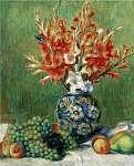 Pierre Auguste Renoir: Virágok és gyümölcsök csendélet (színverzió 1) (id: 20911) falikép keretezve